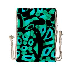 Cyan Design Drawstring Bag (small) by Valentinaart