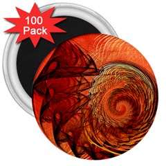 Nautilus Shell Abstract Fractal 3  Magnets (100 Pack) by designworld65