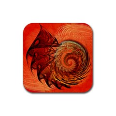Nautilus Shell Abstract Fractal Rubber Square Coaster (4 Pack)  by designworld65