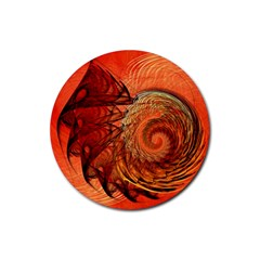 Nautilus Shell Abstract Fractal Rubber Round Coaster (4 Pack)  by designworld65