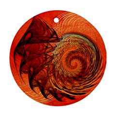Nautilus Shell Abstract Fractal Round Ornament (two Sides)  by designworld65