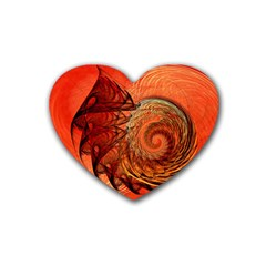 Nautilus Shell Abstract Fractal Heart Coaster (4 Pack)  by designworld65