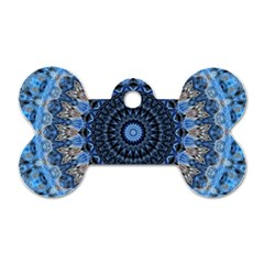Feel Blue Mandala Dog Tag Bone (one Side) by designworld65