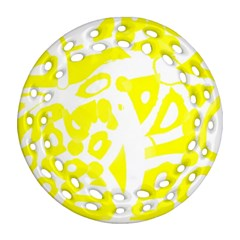 Yellow Sunny Design Ornament (round Filigree)