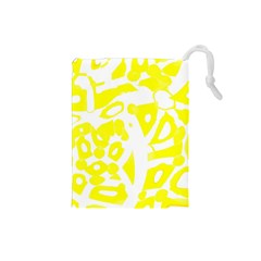 Yellow Sunny Design Drawstring Pouches (small)  by Valentinaart