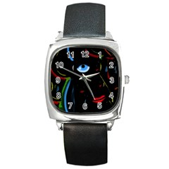 Black Magic Woman Square Metal Watch by Valentinaart