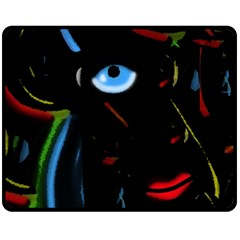 Black Magic Woman Fleece Blanket (medium)  by Valentinaart