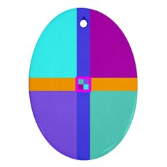 Right Angle Squares Stripes Cross Colored Ornament (oval)  by EDDArt