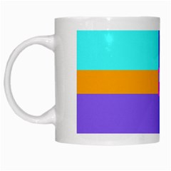 Right Angle Squares Stripes Cross Colored White Mugs