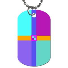 Right Angle Squares Stripes Cross Colored Dog Tag (two Sides) by EDDArt