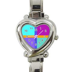Right Angle Squares Stripes Cross Colored Heart Italian Charm Watch by EDDArt