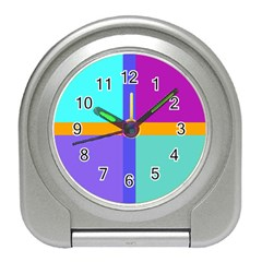 Right Angle Squares Stripes Cross Colored Travel Alarm Clocks by EDDArt