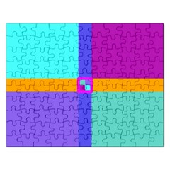 Right Angle Squares Stripes Cross Colored Rectangular Jigsaw Puzzl by EDDArt