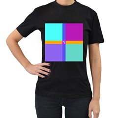 Right Angle Squares Stripes Cross Colored Women s T-shirt (black) (two Sided) by EDDArt