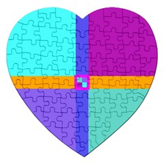 Right Angle Squares Stripes Cross Colored Jigsaw Puzzle (heart) by EDDArt