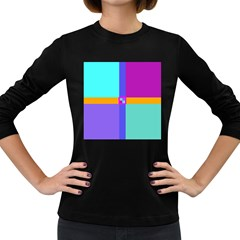 Right Angle Squares Stripes Cross Colored Women s Long Sleeve Dark T Shirts by EDDArt