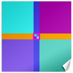 Right Angle Squares Stripes Cross Colored Canvas 20  X 20   by EDDArt