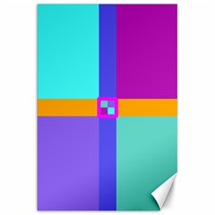 Right Angle Squares Stripes Cross Colored Canvas 20  X 30   by EDDArt