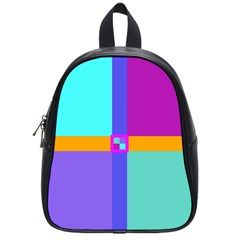 Right Angle Squares Stripes Cross Colored School Bags (small)  by EDDArt