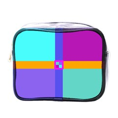 Right Angle Squares Stripes Cross Colored Mini Toiletries Bags by EDDArt