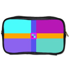 Right Angle Squares Stripes Cross Colored Toiletries Bags 2 Side by EDDArt
