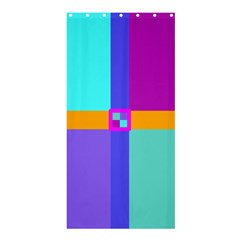 Right Angle Squares Stripes Cross Colored Shower Curtain 36  X 72  (stall)  by EDDArt