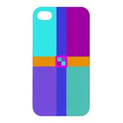 Right Angle Squares Stripes Cross Colored Apple Iphone 4/4s Hardshell Case by EDDArt