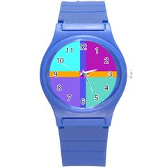 Right Angle Squares Stripes Cross Colored Round Plastic Sport Watch (s) by EDDArt