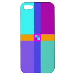Right Angle Squares Stripes Cross Colored Apple Iphone 5 Hardshell Case by EDDArt