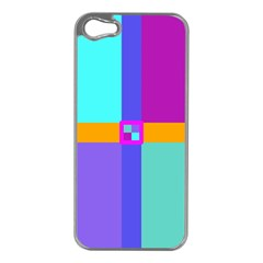 Right Angle Squares Stripes Cross Colored Apple Iphone 5 Case (silver) by EDDArt