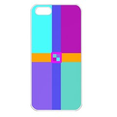 Right Angle Squares Stripes Cross Colored Apple Iphone 5 Seamless Case (white) by EDDArt