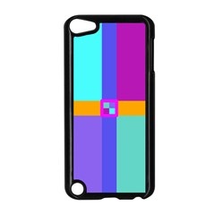 Right Angle Squares Stripes Cross Colored Apple Ipod Touch 5 Case (black) by EDDArt