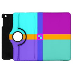 Right Angle Squares Stripes Cross Colored Apple Ipad Mini Flip 360 Case by EDDArt