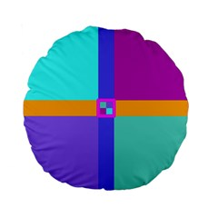 Right Angle Squares Stripes Cross Colored Standard 15  Premium Round Cushions by EDDArt