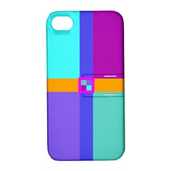Right Angle Squares Stripes Cross Colored Apple Iphone 4/4s Hardshell Case With Stand by EDDArt