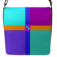 Right Angle Squares Stripes Cross Colored Flap Messenger Bag (s) by EDDArt