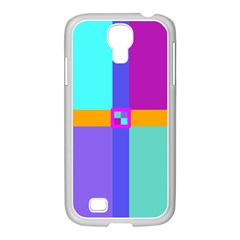 Right Angle Squares Stripes Cross Colored Samsung Galaxy S4 I9500/ I9505 Case (white) by EDDArt