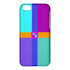 Right Angle Squares Stripes Cross Colored Apple Iphone 5c Hardshell Case by EDDArt