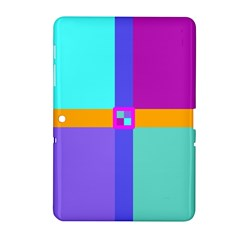 Right Angle Squares Stripes Cross Colored Samsung Galaxy Tab 2 (10 1 ) P5100 Hardshell Case  by EDDArt