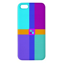 Right Angle Squares Stripes Cross Colored Iphone 5s/ Se Premium Hardshell Case by EDDArt