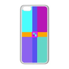 Right Angle Squares Stripes Cross Colored Apple Iphone 5c Seamless Case (white)