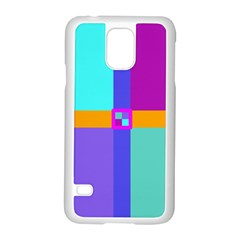 Right Angle Squares Stripes Cross Colored Samsung Galaxy S5 Case (white) by EDDArt