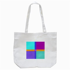 Right Angle Squares Stripes Cross Colored Tote Bag (white) by EDDArt