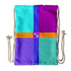 Right Angle Squares Stripes Cross Colored Drawstring Bag (large) by EDDArt