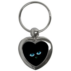 Halloween   Black Cat   Blue Eyes Key Chains (heart)  by Valentinaart