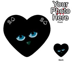 Halloween   Black Cat   Blue Eyes Playing Cards 54 (heart)  by Valentinaart