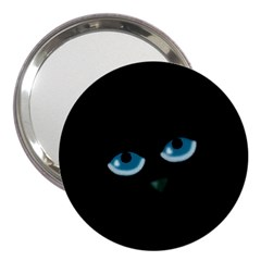 Halloween   Black Cat   Blue Eyes 3  Handbag Mirrors by Valentinaart