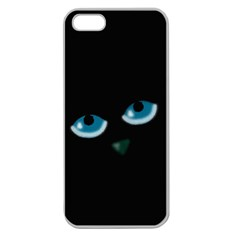 Halloween   Black Cat   Blue Eyes Apple Seamless Iphone 5 Case (clear) by Valentinaart
