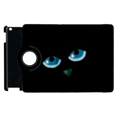 Halloween   Black Cat   Blue Eyes Apple Ipad 2 Flip 360 Case by Valentinaart