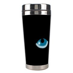 Halloween   Black Cat   Blue Eyes Stainless Steel Travel Tumblers by Valentinaart